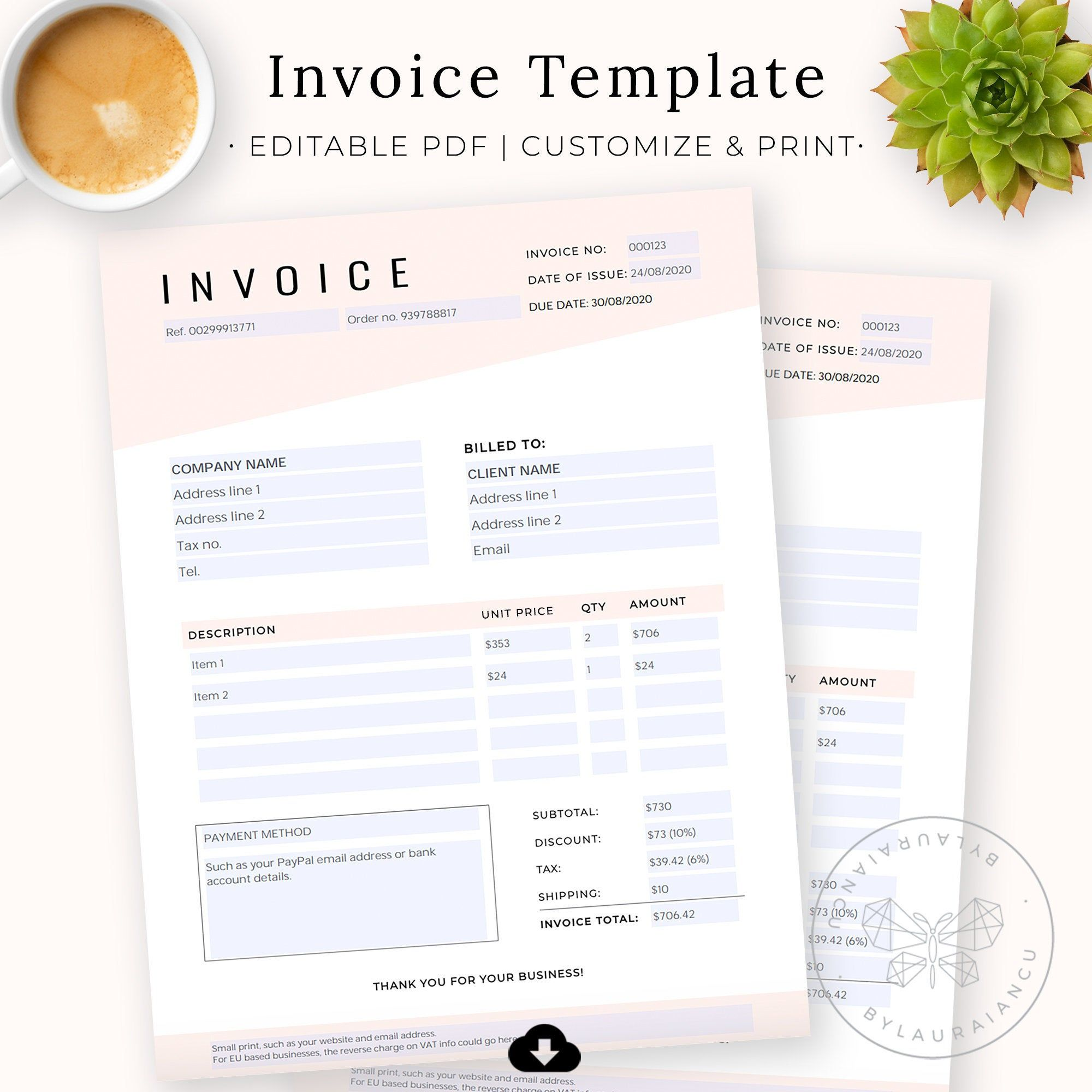 Invoice Template Editable Pdf Fillable Custom Order Form Etsy Invoice Template Daily Planner Pages Templates
