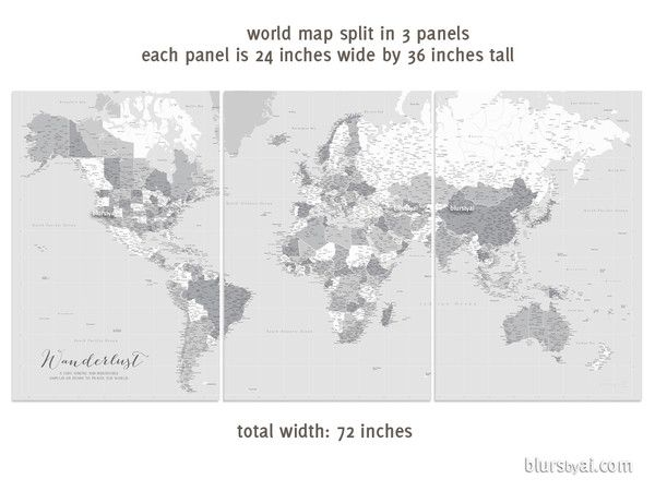 Highly detailed word map poster set in grayscale set of 3 split large world map sent as 3 split posters this map features capitals and many cities travel lover idea you can use framed corkboards or frames that are gumiabroncs Gallery