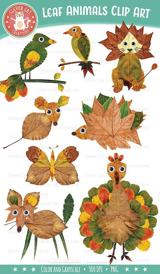 Unique autumn clip art set of googly-eyed whimsical animals, made with real leaves from my garden. #TPT, #TeachersPayTeachers, #clipart, #autumn, #fall, #autumnclipart #leafcrafts