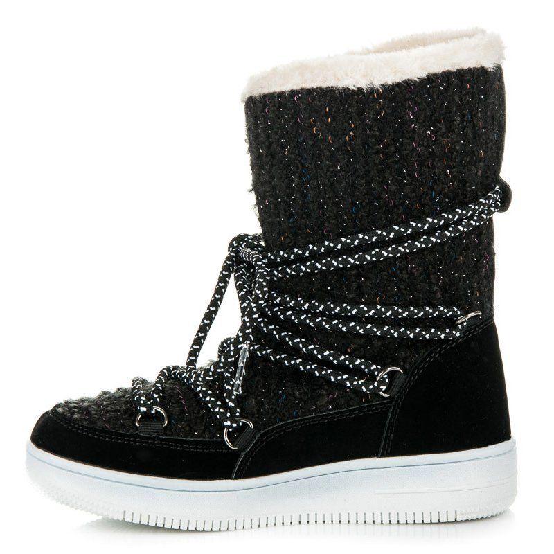 Kozaki Dla Dzieci Kylie Czarne Buty Zimowe Kylie Boots Shoes Wedge Sneaker