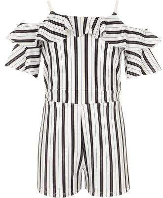 3dc7086346a River Island Girls black stripe cold shoulder playsuit