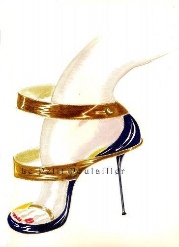 Manolo Blahnik Shoe Prints To Frame Fashion Illustrations, Pl 95-6 | PetitPoulailler - Paper on ArtFire