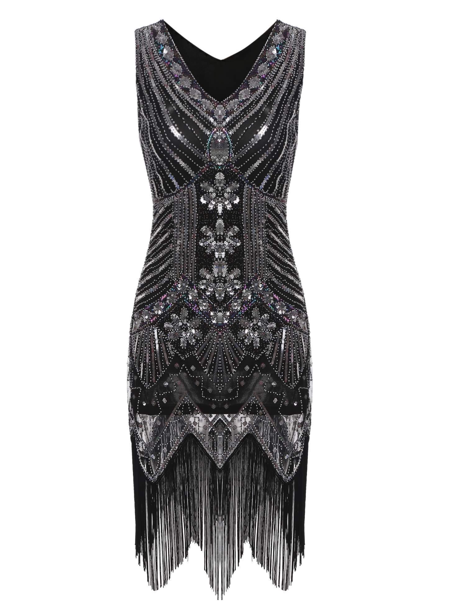1920s Sequined Fringe Dress 1920s Fashion Vintage Dresses Flapper Dress