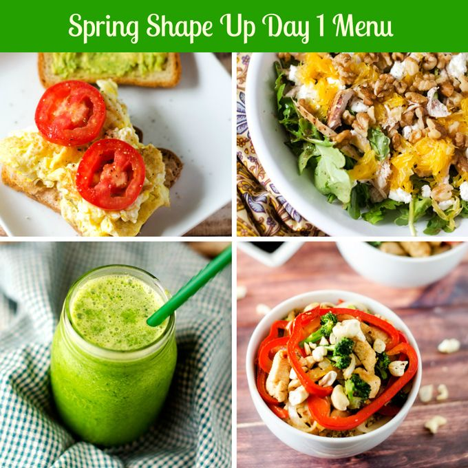 Spring Shape Up Day 1 Meal Plan (gluten free, vegetarian options)