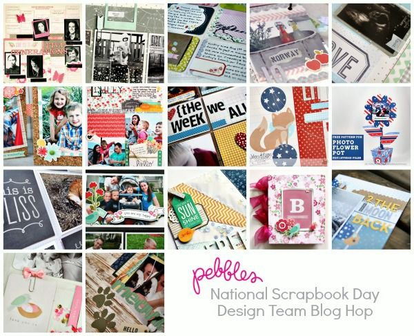Blog hop from Pebbles Inc. for National Scrapbook Day 2014. Lots of inspiring scrapbooking and paper crafting projects.