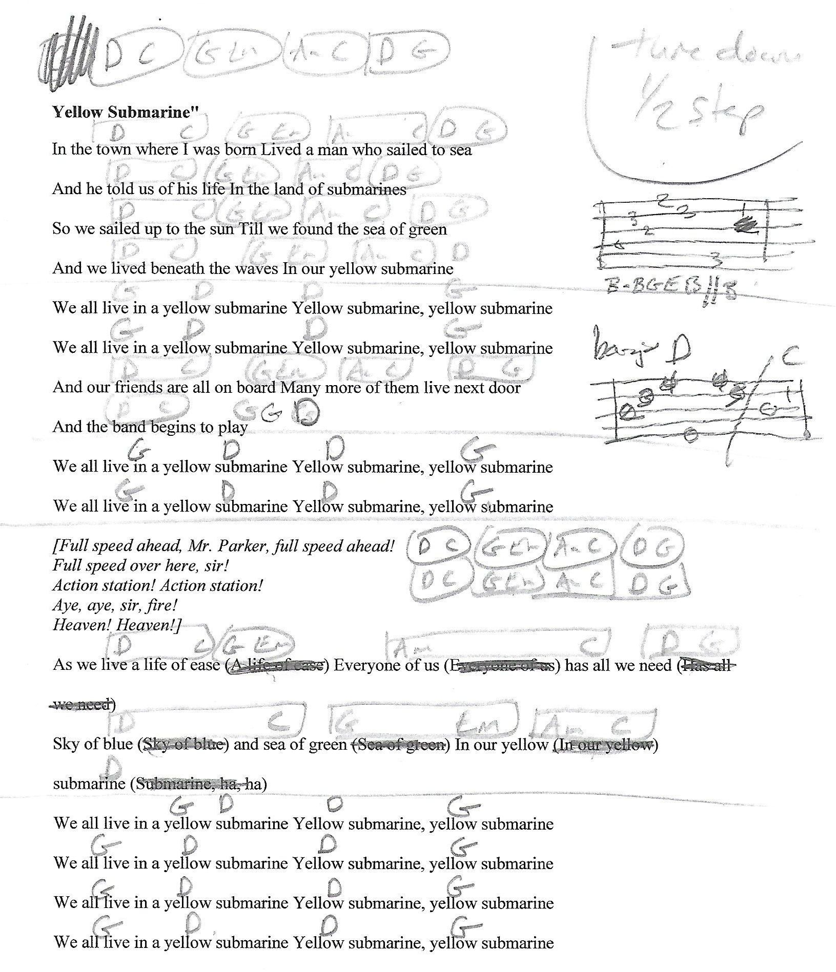 Yellow Submarine Beatles Guitar Lesson Chord Chart With Lyrics