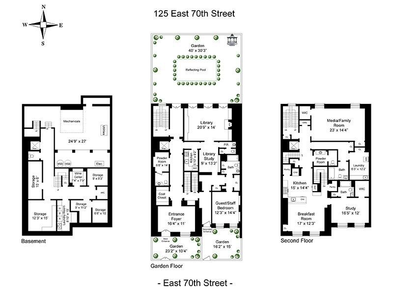 125 East 70th Street Bunny Mellon Townhouse 11 000 Square Feet Asking 46 Million Floor Plan 1 Bunny Mellon House Floor Plans Ryland Homes