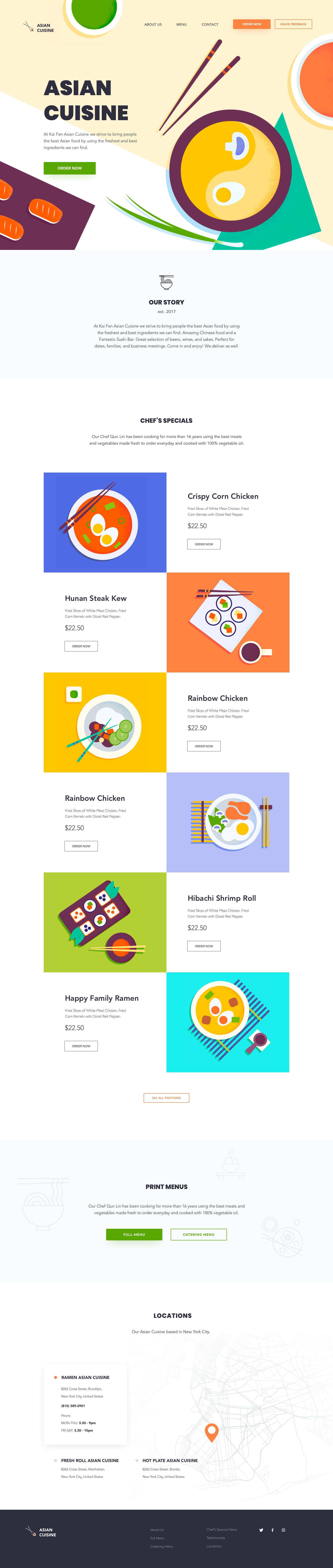 Landing Page Asian Cuisine Best Landing Page Design Web Design Landing Page