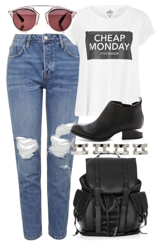 """""""Untitled #4069"""" by style-by-rachel ❤ liked on Polyvore featuring Topshop, Maison Margiela, Cheap Monday, Christian Dior and Alexander Wang"""