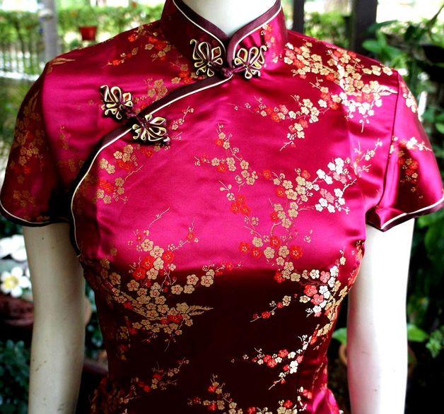 Asia/China Geisha-Bluse/Blazer Weinrot Gr.34,42   Karneval schminken ...