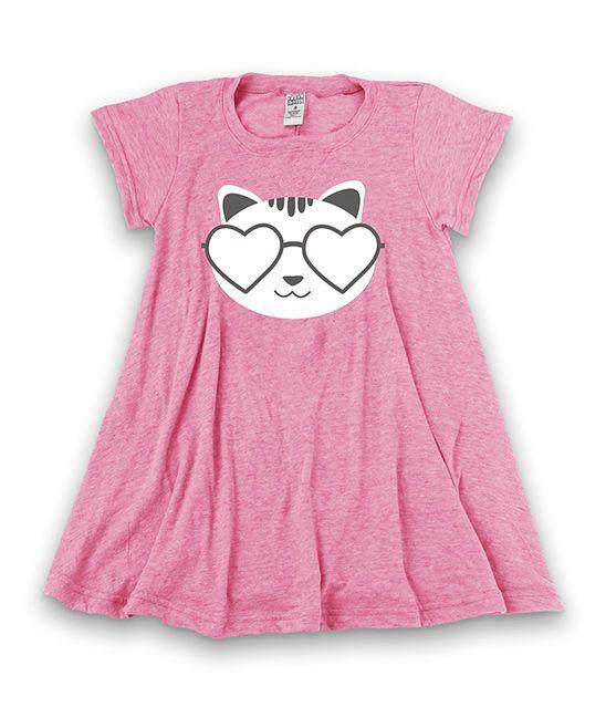 Heather Pink 'Cat Shades' Cap-Sleeve Dress - Toddler & Girls