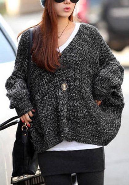 Black Melange Front-Button Cardigan