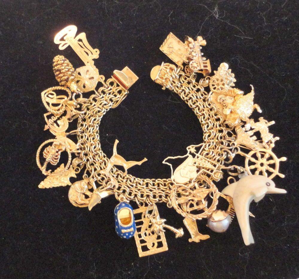 Vintage 60 S 14k Gold Charm Bracelet W 29 Charms 70 Grams Nr 14k Gold Charms Gold Charm Bracelet Charm Bracelet