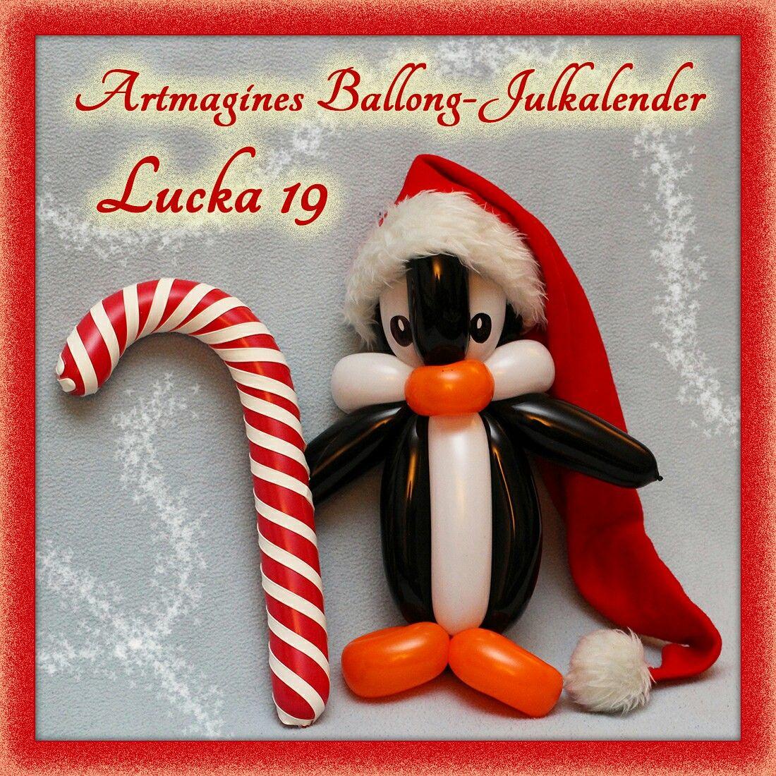 Artmagines Ballong-Julkalender Lucka 19: Ballong-pingvinen raskar över isen, smaskande på sin ballong-polkagris. Vi gör en ny ballong-kreation varje dag fram till jul!