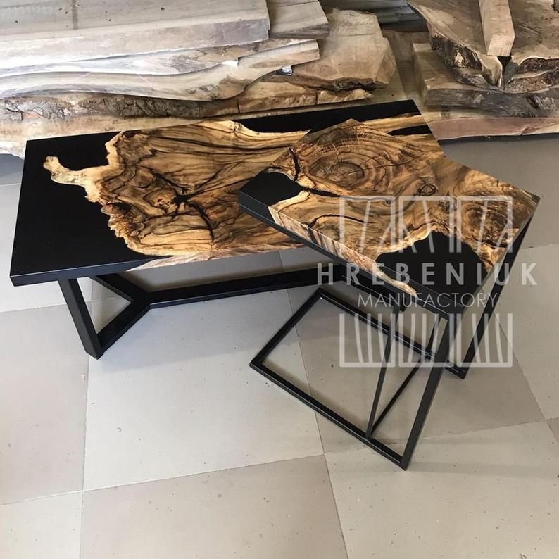 Walnut Wood Table Metal Legs Epoxy Top Long Table For Etsy In 2020 Resin Table Epoxy Resin Wood Wood Table Design