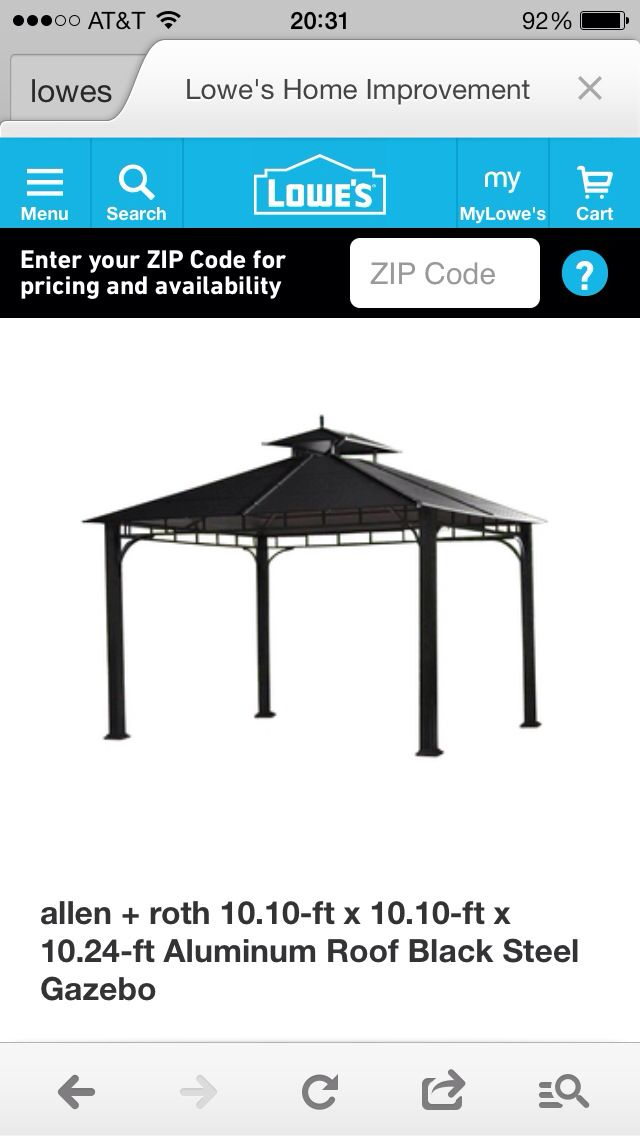 Want this gazebo for the hot tub from Lowes!!! | Pergolas, Arbors ...