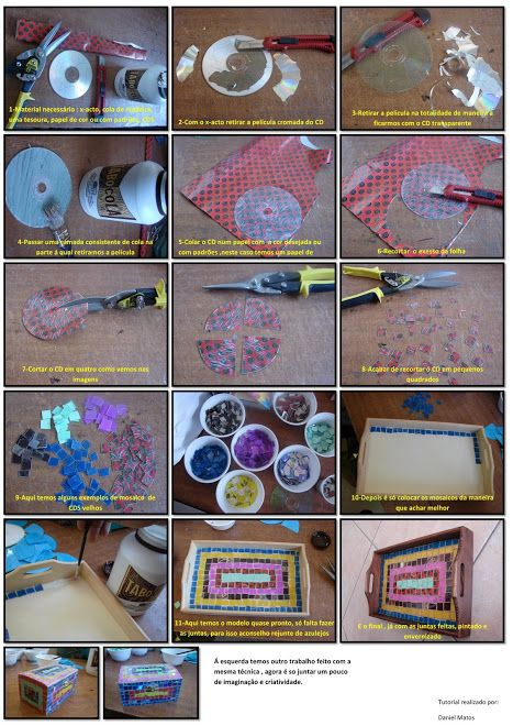 tutorial recycling CDs for mosaic