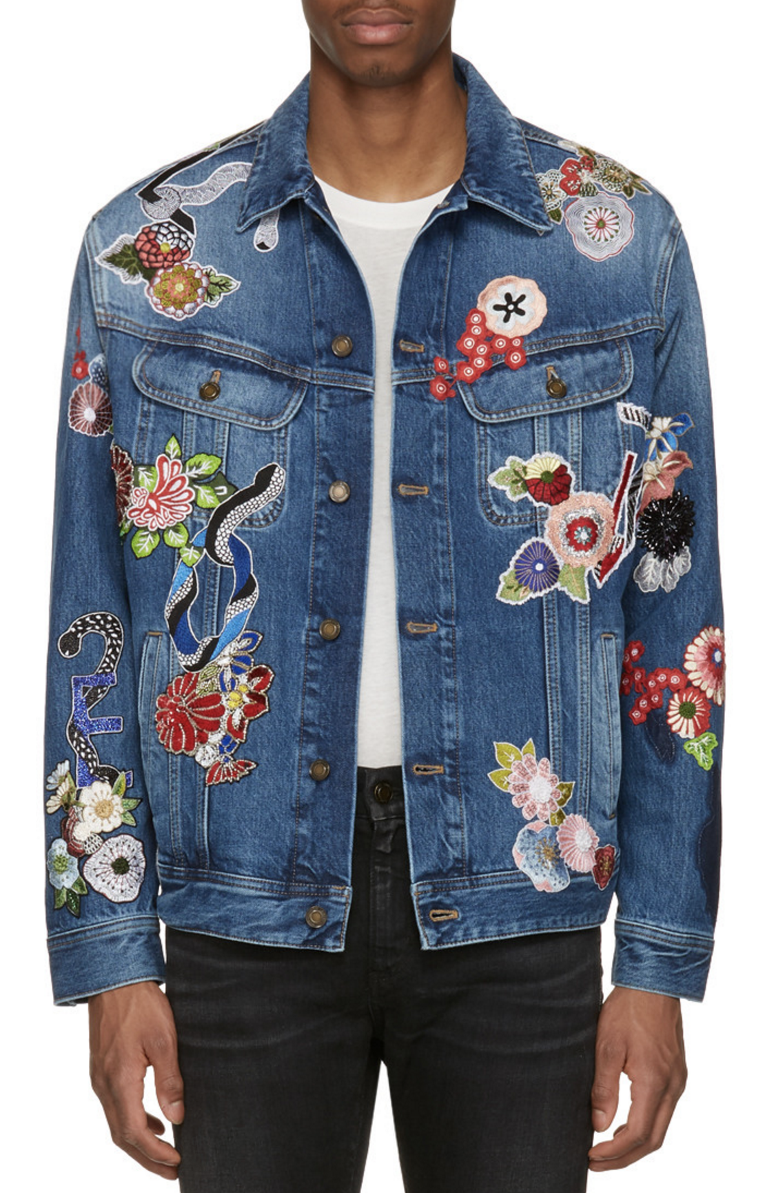 7a6ff74684e Saint Laurent Blue Denim Love Patch Jacket from SSENSE (men, style,  fashion, clothing, shopping, recommendations, stylish, menswear, male,  streetstyle, ...