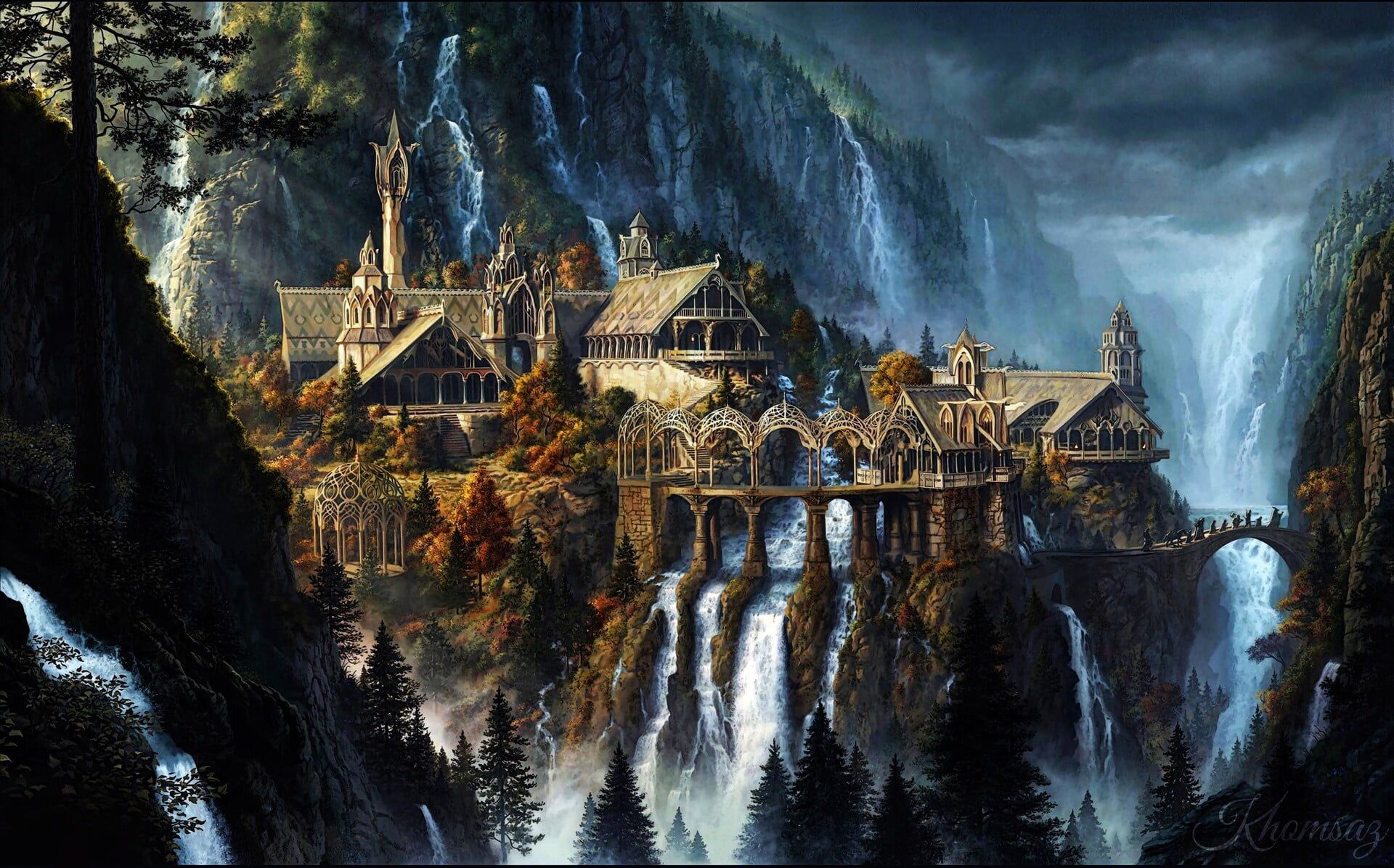 Rivendell The Lord of the Rings fantasy art waterfall