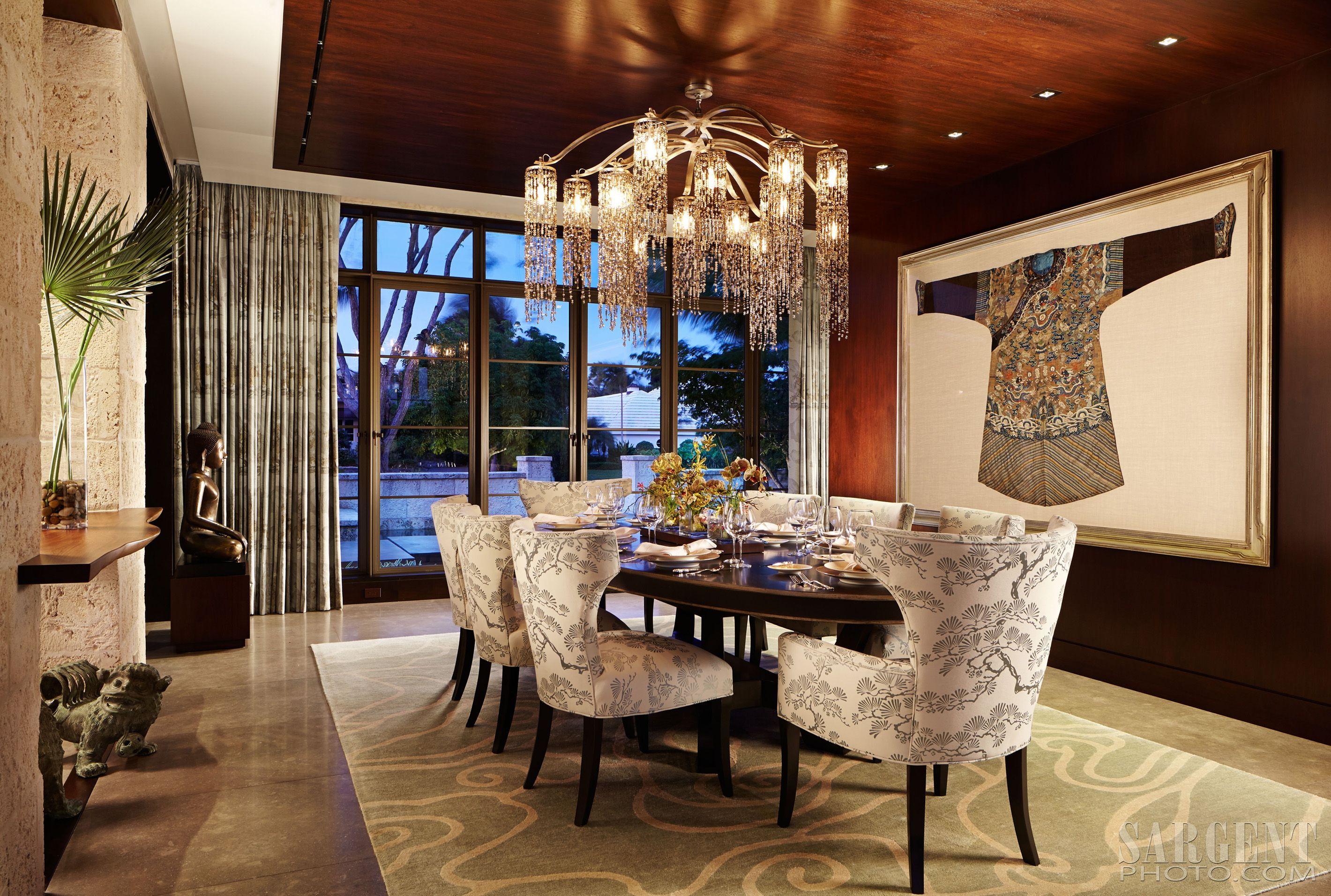 water fall chandelier asian inspired dining room asian art work