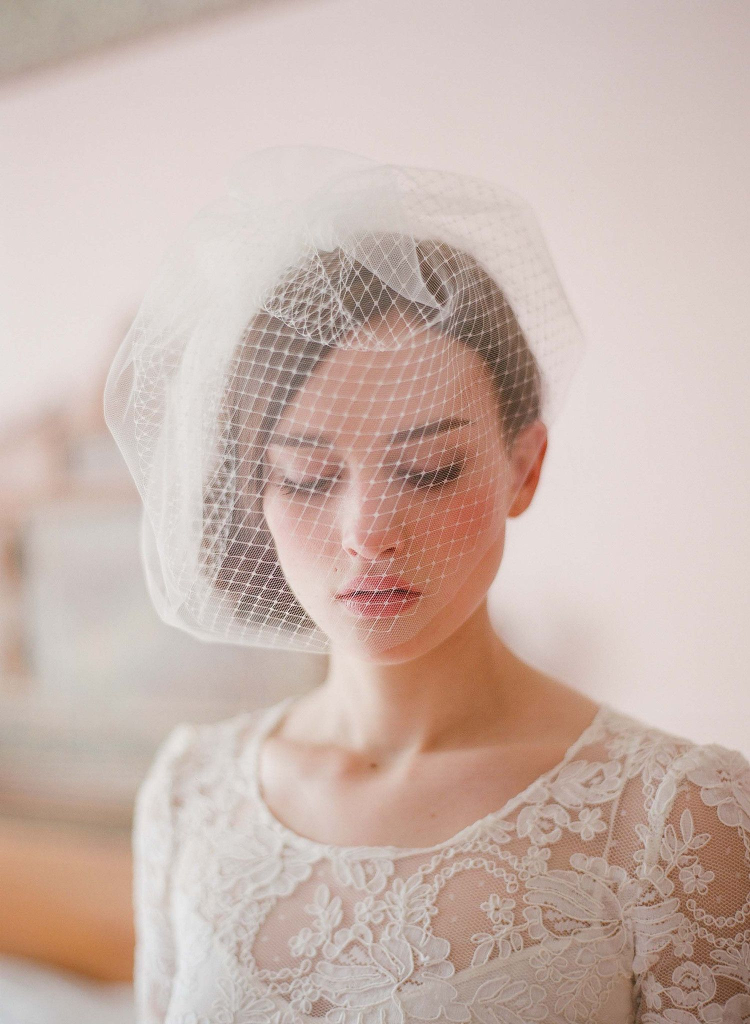 Double Layer Full Birdcage Veil Style 213 Wedding Hairstyles