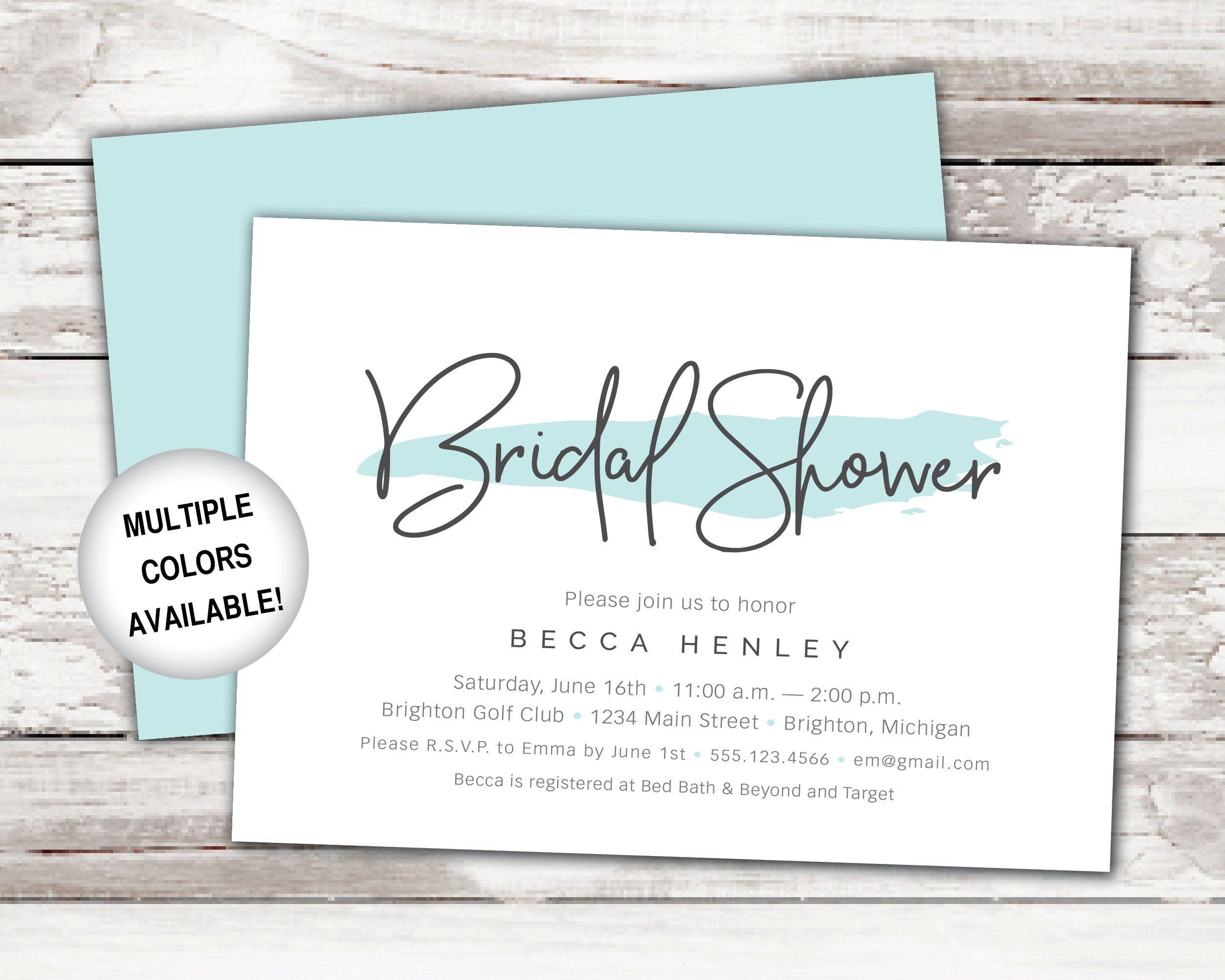 Teal Bridal Shower Invitation Wedding Shower Invitation Etsy Bridal Shower Invitations Templates Pink Bridal Shower Invitations Bridal Shower Invitations
