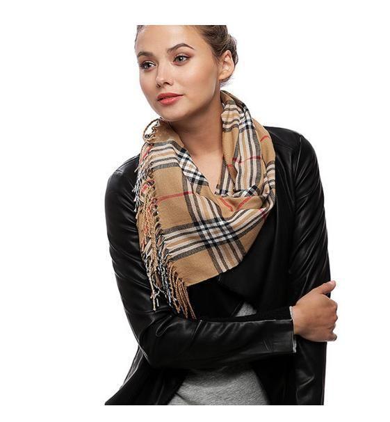 "Fashionable Camel Color Check Oblong Scarf Ladies 12 x 71"" 100% Acryl - LA…"