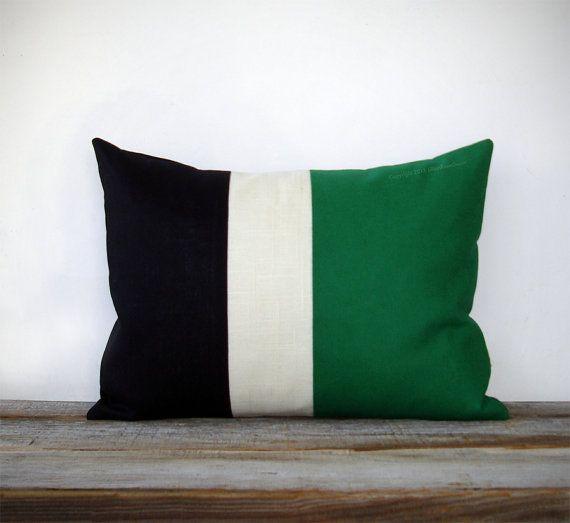 Emerald Colorblock Stripe Pillow In Cream And Black Linen