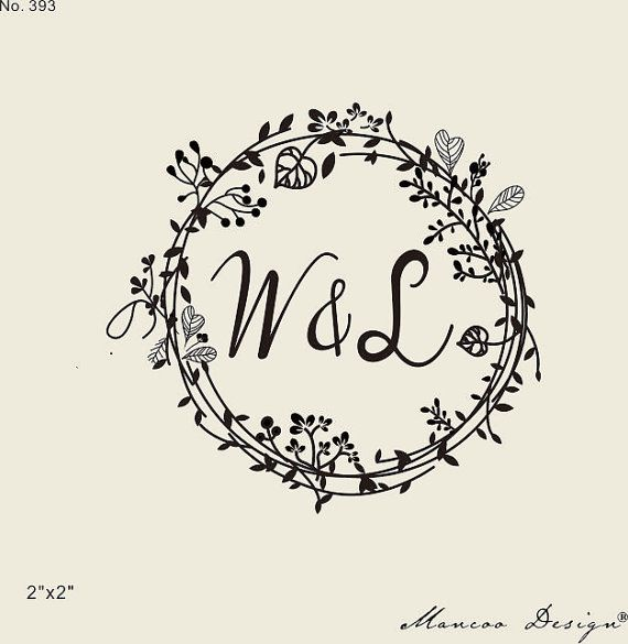 Wedding Stamps Fl Frames Rubber Stamp Custom Initial