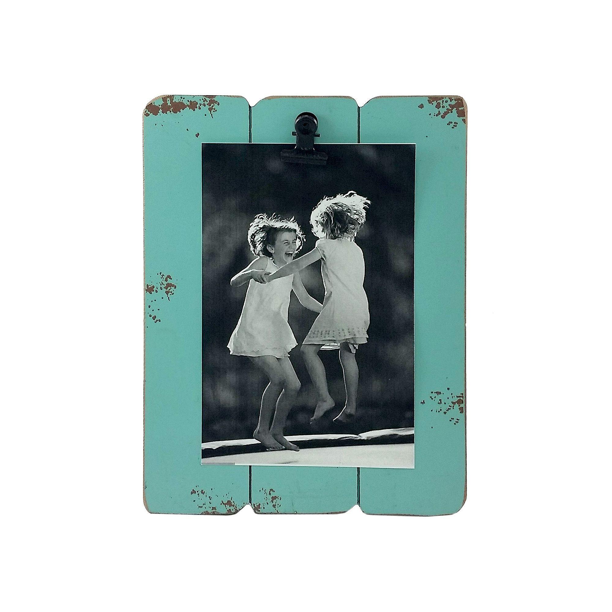 Fetco Home Decor Slats 4\'\' x 6\'\' Photo Clip Frame, Light Grey ...