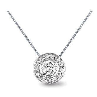 This stunning diamond pendant is classically modern with a center this stunning diamond pendant is classically modern with a center diamond surrounded by a sleek circle of smaller round diamonds ljp6101 aloadofball Choice Image