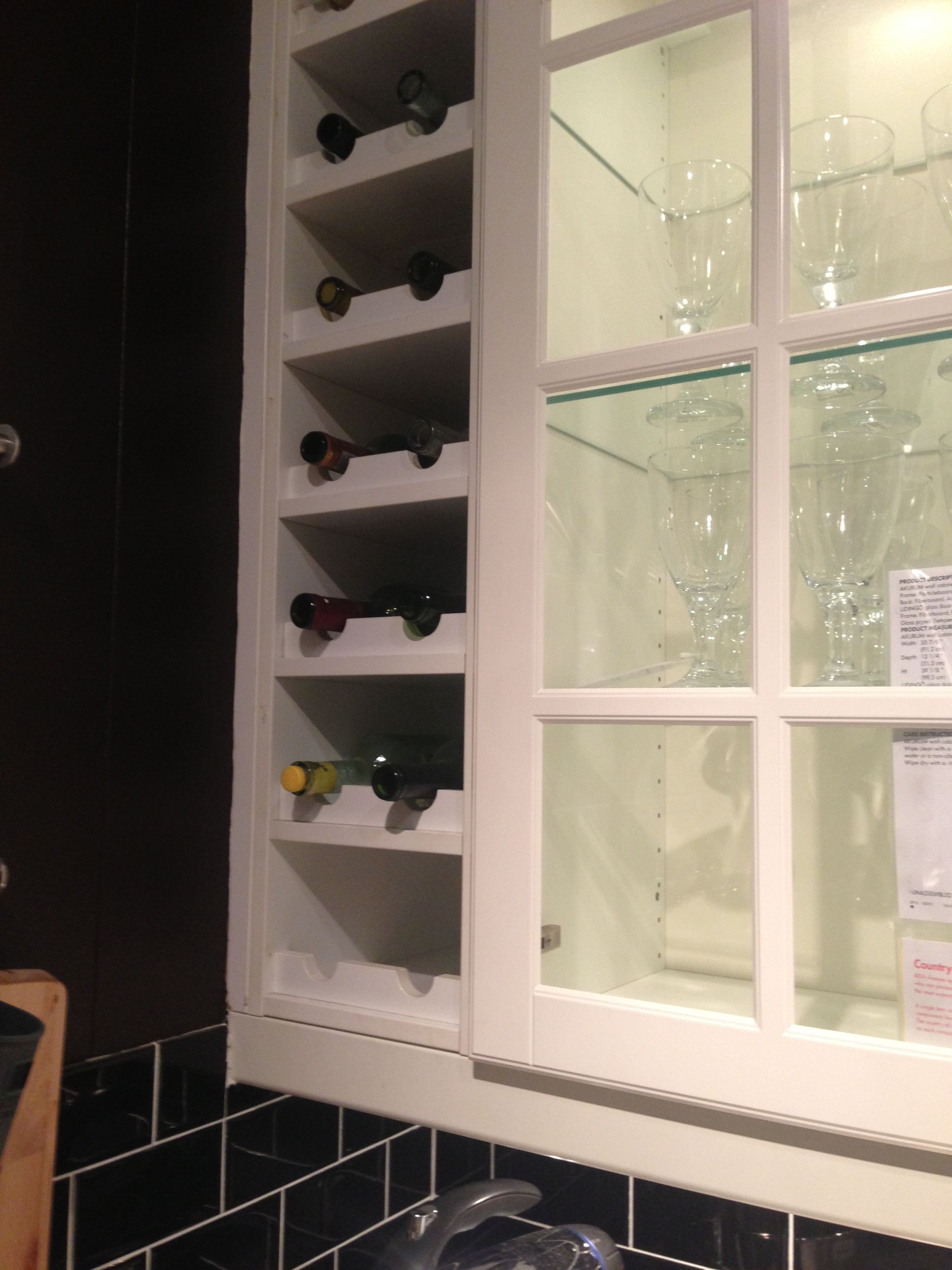 built in wine rack kitchen cabinets white leather bar stools next to c o ikea diy