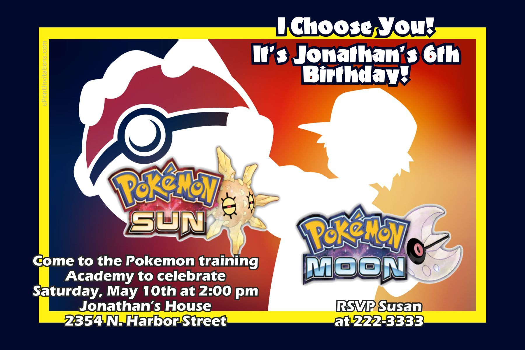 Pokemon Sun and Moon Birthday Invitations - Digital Download - Get ...