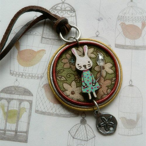 Handmad cute embellished animal necklace bunny rabbit pendant handmad cute embellished animal necklace bunny rabbit pendant rabbit necklace rabbit brooch animal jewellery easter gift negle Image collections