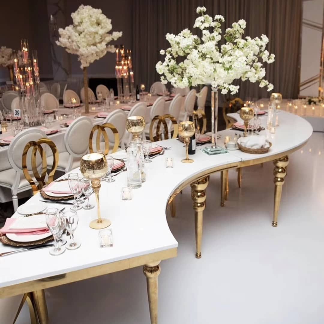 Customized Wedding Banquet Furniture Shining Gold Stainless Steel Chairs And Tables Weddingchairs Weddingch Wedding Chairs Wedding Table Wedding Decorations