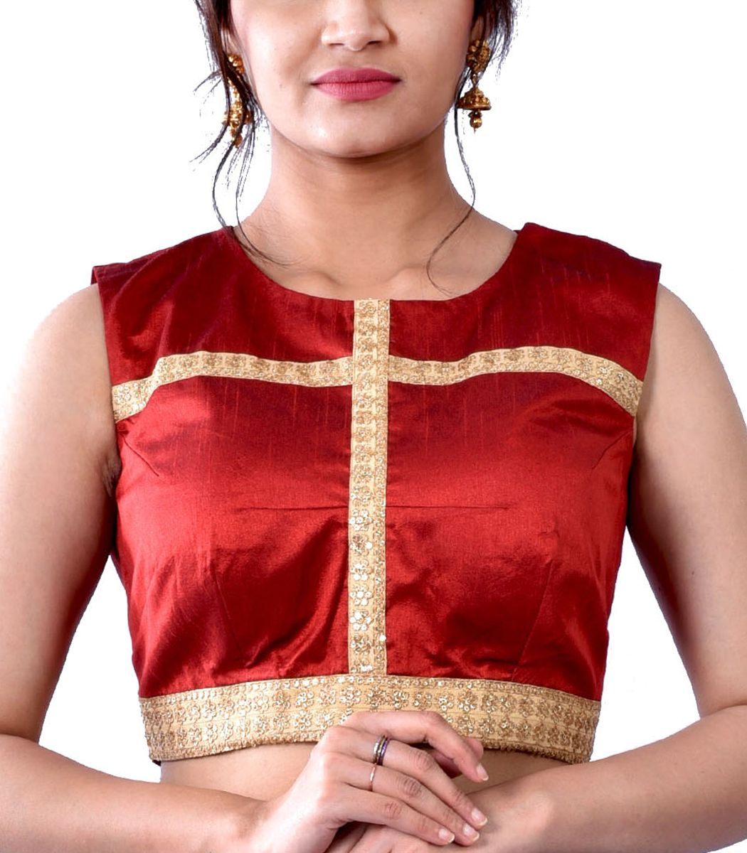Maroon dupion with gold lace designer blouse bl indian silk house agencies also rh pinterest