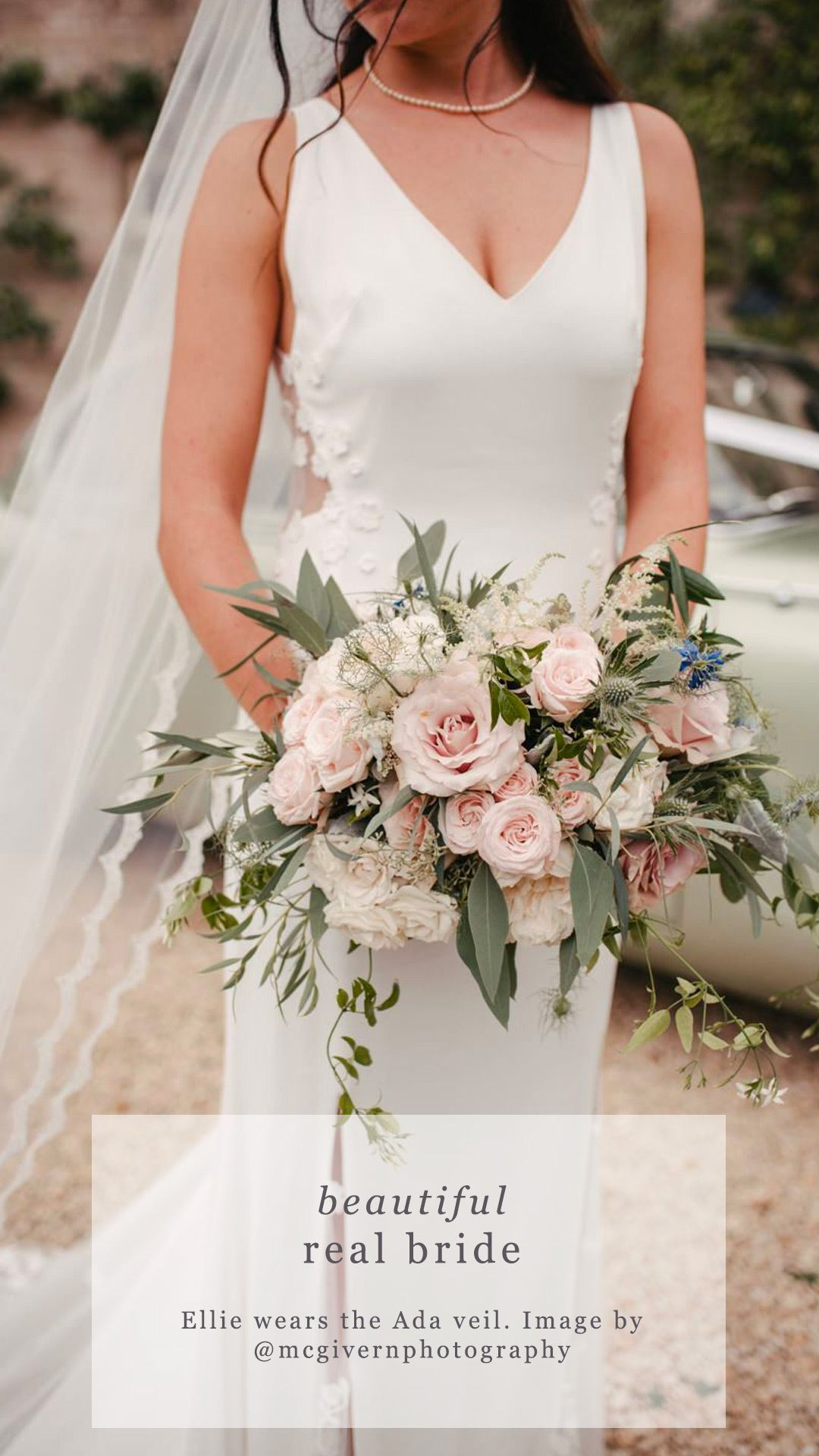 Full lace edged single tier wedding veil - 'Ada'