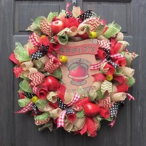 Apple Deco Mesh Wreath Red Green and by NewEnglandHomeAccent by regina