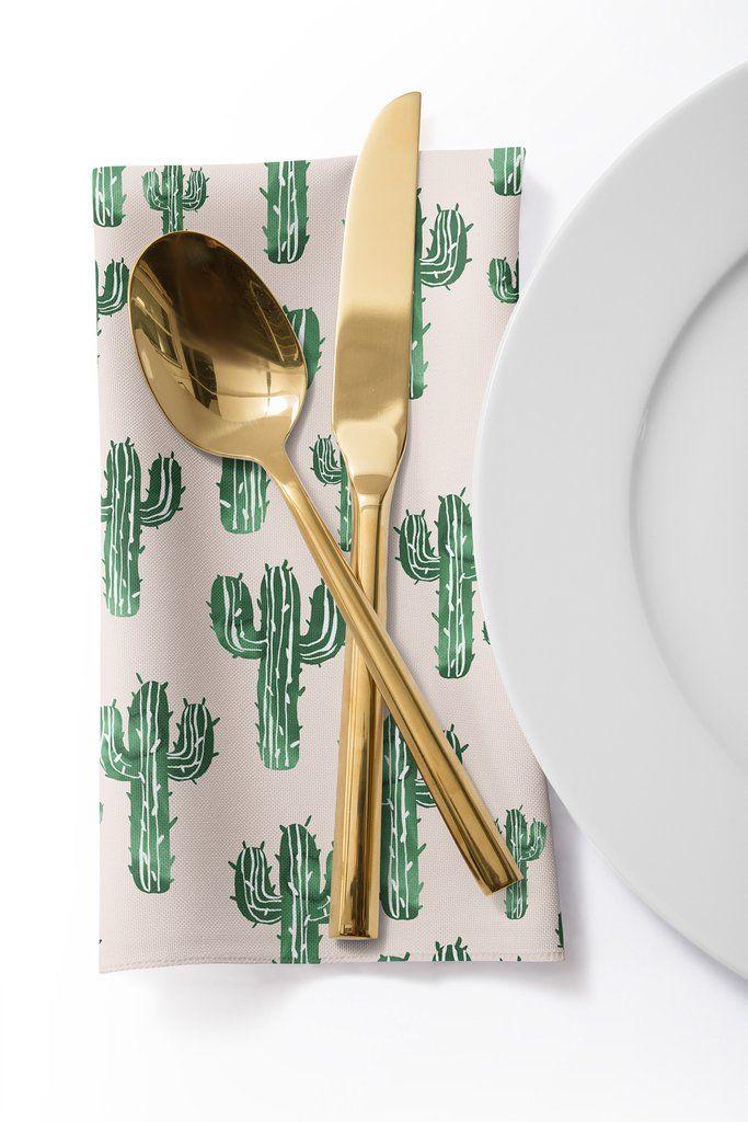 Susanne Kasielke Cactus Party Desert Matcha Cloth Napkin Deny Designs Home Accessories Cloth Napkin Napkins Set Cactus Party