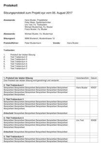 Protokollvorlage Mit Dieser Protokollvorlage Kannst Du Sofort Loslegen Und Eine Sitzung Protokollieren Vorlagen Arbeitszeugnis
