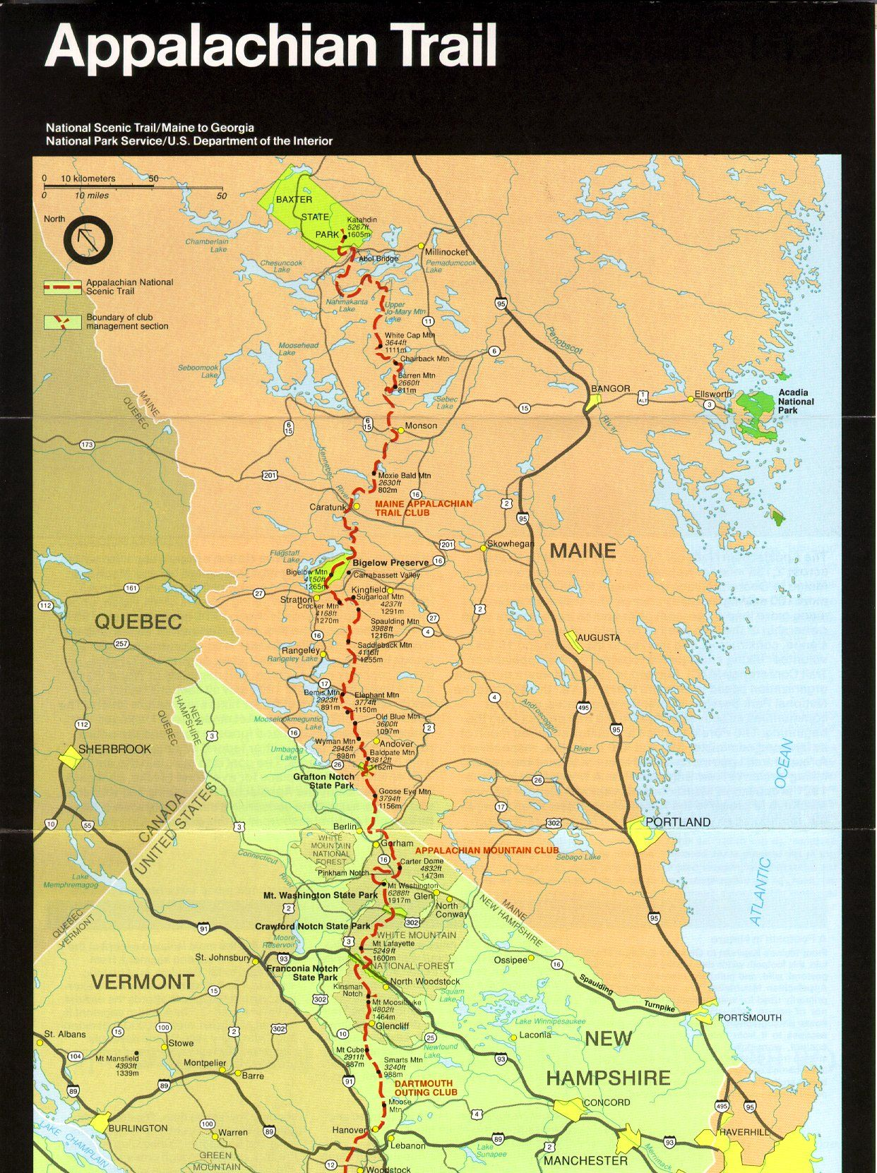 I Have Had A Fascination For The Appalachian Trail Since I Heard - Appalachian trail new hampshire map