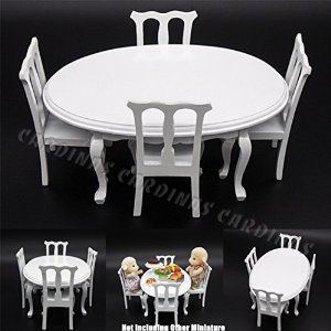 Amazon.com: Odoria 1:12 Miniature White Dining Table and 4 Chairs in 1 Set Wooden Kitchen Furniture Dollhouse Accessories: Toys & Games