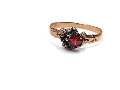 Antique Victorian 10k Rose Gold Size 7 Ring With Faceted Redstone 1 4 G Vgc Rings Rose Gold Fashion Jewelry