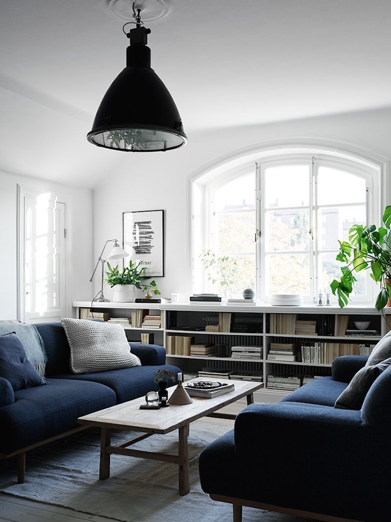 Blue sofas in a Scandinavian style living room | Living Room ...