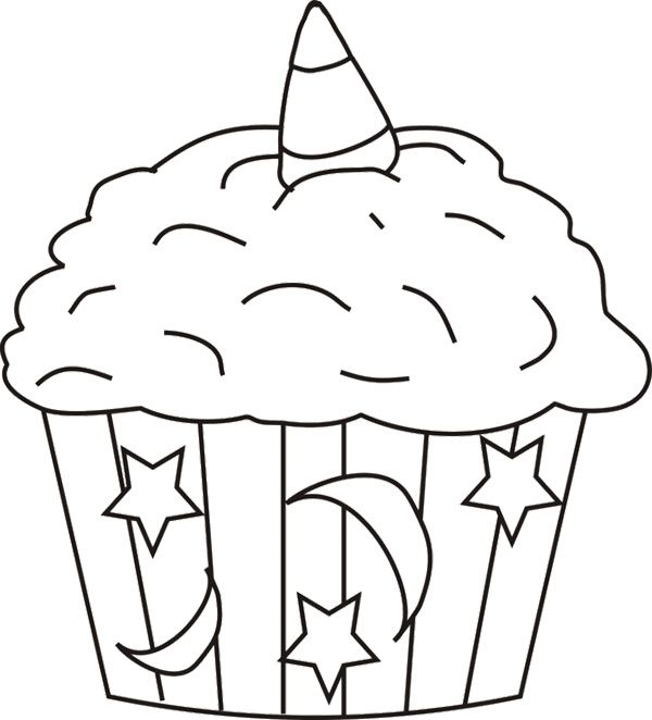 Halloween Cupcake Coloring Page