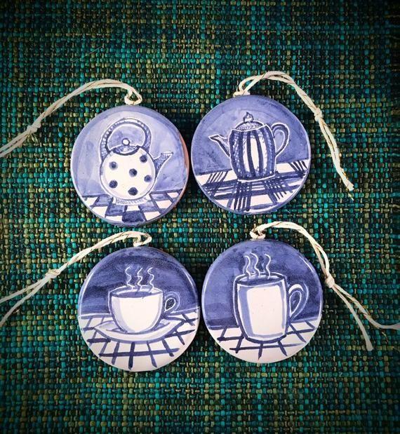 Tea or coffee? Themed Christmas tree ornaments . Cup and saucer, mug and tea pot or coffee server. M #coffeeserver
