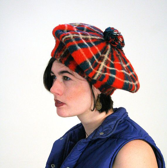 ed35fa94bb0b1 40s Scottish Tam O'shanter Hat, Red Plaid Tam O'shanter, Vintage ...