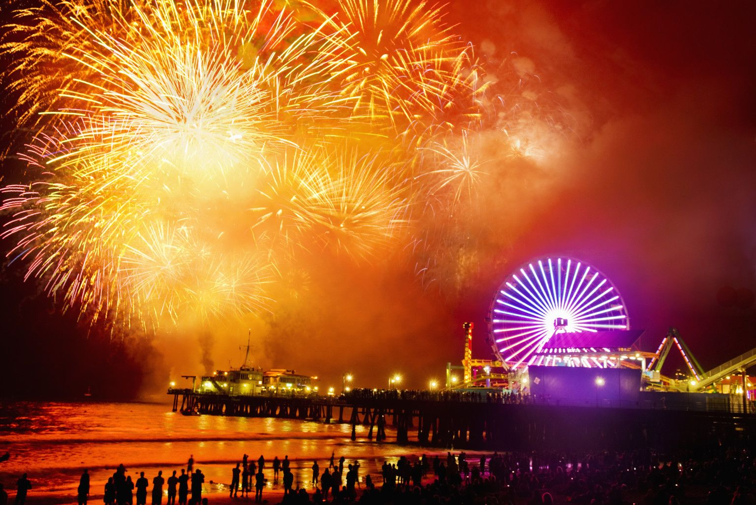 Image result for Santa Monica Pier in Santa Monica fireworks