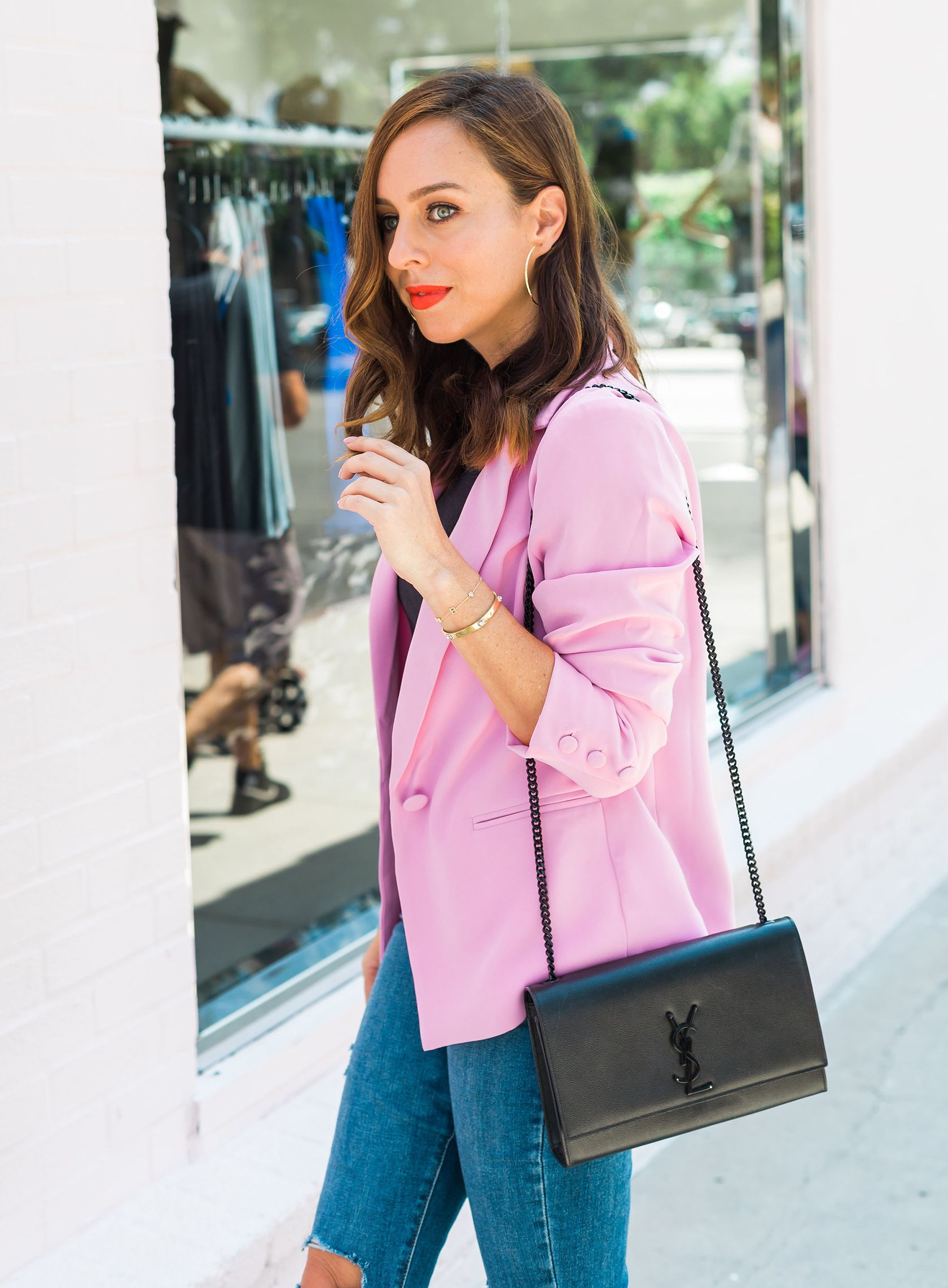 4b644b736b4f Sydne Style wears lovers and friends pink blazer for fall outfit ideas with  ysl medium kate bag  blazers  pink  jeans  redlips  sydnesummer