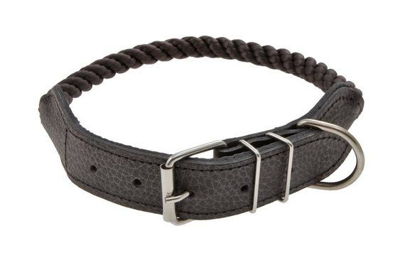 Rolled Nylon Rope & Leather Head Collar for Dogs 10 colors